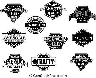 etiketten, banieren, stijl, set, retro