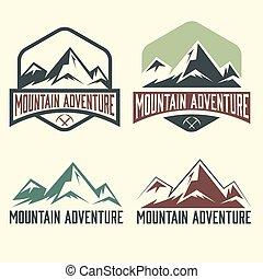etiketten, berg, set, avontuur, ouderwetse