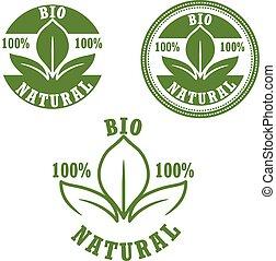 etiketten, bio, set, natuurlijke , groene