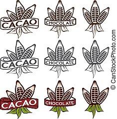etiketten, bladeren, set, bonen, cacao