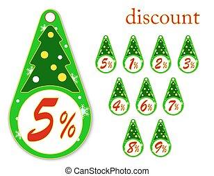 etiketten, boompje, illustratie, jaar, korting, vector, nieuw, kerstmis