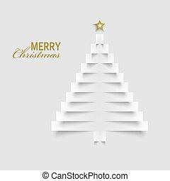 etiketten, boompje, papier, mal, kerstmis kaart