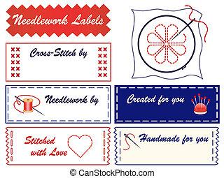 etiketten, borduurwerk, naaiwerk