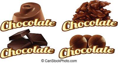 etiketten, chocolade