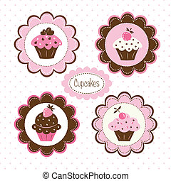 etiketten, cupcakes, set