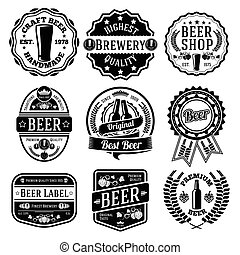 etiketten, emblems., bier, set, vector