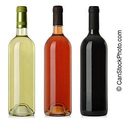 etiketten, flessen, nee, wijntje, leeg