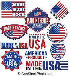 etiketten, gemaakt, usa, grafiek