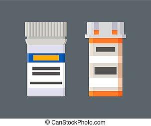 etiketten, geneesmiddelen, set, containers, plastic