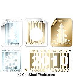etiketten, gouden, set, kerstmis, zilver, zakelijk