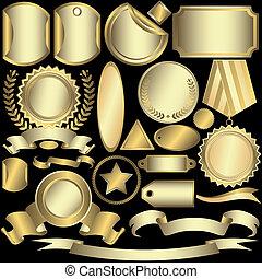 etiketten, gouden, set, (vector), zilverachtig