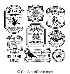 etiketten, halloween, fles