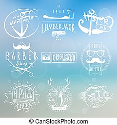 etiketten, hipster, achtergrond, witte , ouderwetse
