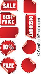 etiketten, korting, prijs, set, rood