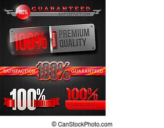etiketten, kwaliteit, 100%, hoog, emblems