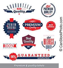 etiketten, kwaliteit, set, premie, &