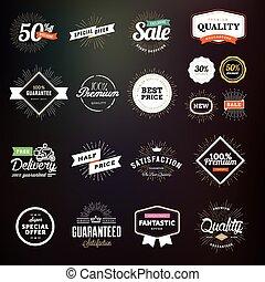 etiketten, kwaliteit, set, premie, kentekens