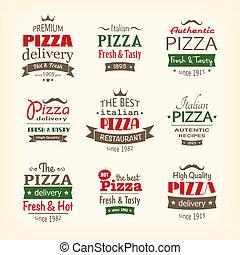 etiketten, kwaliteit, set, premie, pizza