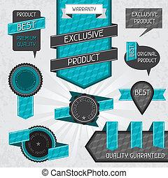 etiketten, kwaliteit, stickers., set, premie