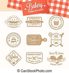 etiketten, logos, bakkerij, kentekens, ouderwetse