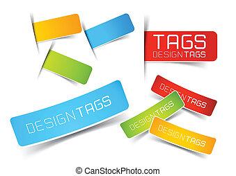 etiketten, ontwerp, markeringen