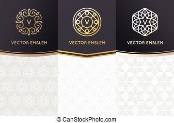 etiketten, ontwerp, set, communie, vector