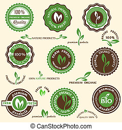 etiketten, organisch, verzameling, iconen