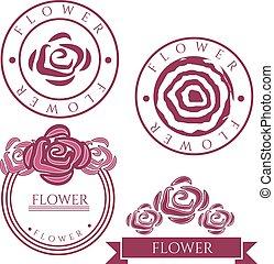 etiketten, ouderwetse , bloem, vector, roos