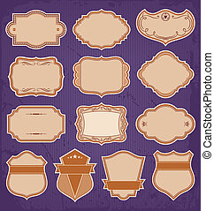 etiketten, ouderwetse , frame, vector, set