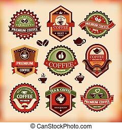etiketten, ouderwetse , koffie stel, vector