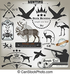 etiketten, ouderwetse , set, hunting.