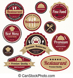 etiketten, ouderwetse , set, kentekens, restaurant