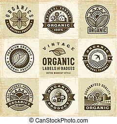 etiketten, ouderwetse , set, organisch, kentekens