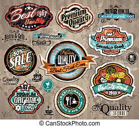 etiketten, ouderwetse , set, premie, kwaliteit