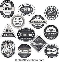 etiketten, ouderwetse , set, retro, kentekens