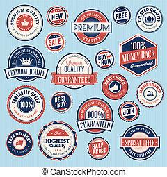etiketten, ouderwetse , set, stickers