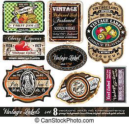 etiketten, ouderwetse , -set, verzameling, 8