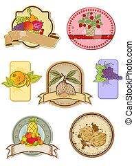 etiketten, ouderwetse , set, vruchten
