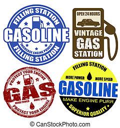 etiketten, postzegels, set, benzine