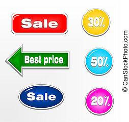 etiketten, postzegels, set, verkoop