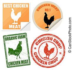etiketten, postzegels, set, vlees, chicken