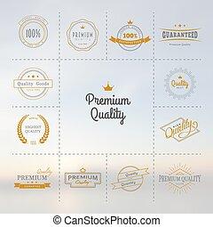 etiketten, premie, set, kwaliteit