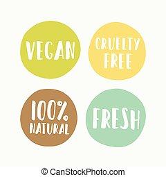 etiketten, product, set, vegan, verpakken