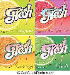 etiketten, sap, set, fruit, fris