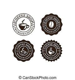etiketten, satz, logo, design, weinlese, kaffeestube
