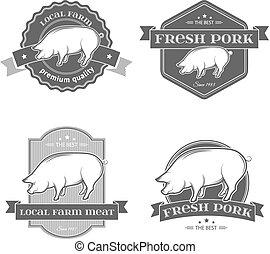 etiketten, schweinefleisch, vektor