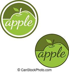 etiketten, set, appeltjes , vector