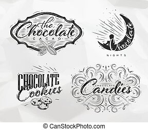 etiketten, set, chocolade