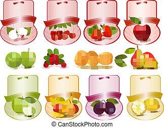 etiketten, set, fruit