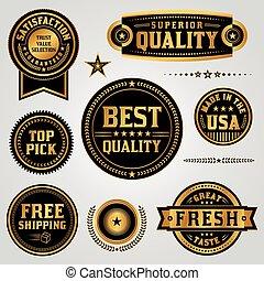 etiketten, set, kwaliteit, kentekens, verzekering